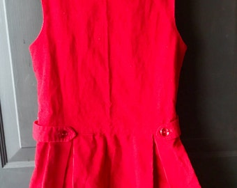 Vintage handmade red corduroy jumper pinafore dress 6x valentines day