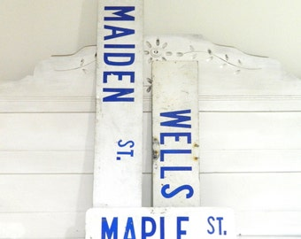 Vintage Street Sign Road Sign Metal White Blue Industrial Decor Maiden Street