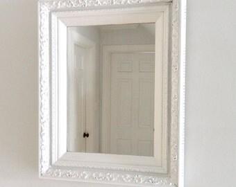 Vintage White Mirror Wood Frame Large Ornate Shabby Chic