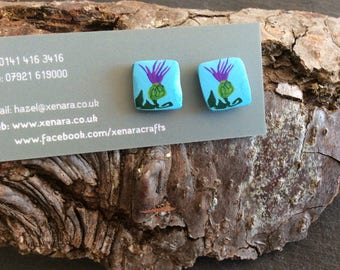 Thistle stud earrings - Polymer clay studs - Scottish Gift - Funky thistle