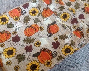 Six Fall Napkins with Pumpkins, Leaves and Sunflowers Cloth Napkins for your Autumn Table
