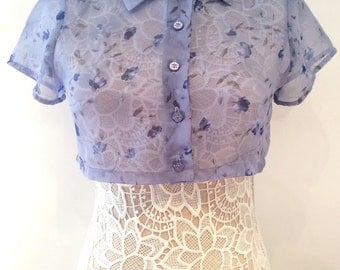 Doree blue sheer floral vintage 1990s collared button up crop top