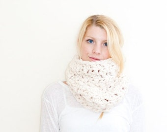 WINTER SALE the Chunky Cowl Neckwarmer  Scarf - fisherman - Wool Blend - the MORGAN