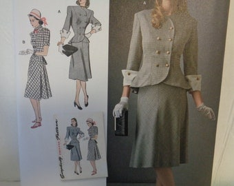 Simplicity 8242- WWII Era, 40's Gown, Vintage Suit- Evening Dress, Formal Dress, Sunday Dress, Tea Dress, Vintage Fashion-Sizes 14-22