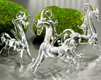SUPPLY: Handcrafted lamp-work Clear Glass Horse Pendant - Feather Tree Ornament - Light Catcher - SKU 00007870