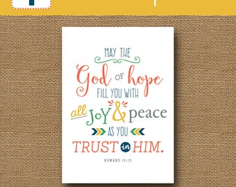 Bible Verse Encouragement Card | Printable Christian Greeting Card | Scripture Hope Card | DIY PRINTABLE | God of Hope, Romans 15:13 Card