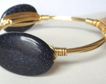 "Navy Blue Goldstone Bangle Bracelet ""Bourbon and Bowties"" Inspired"
