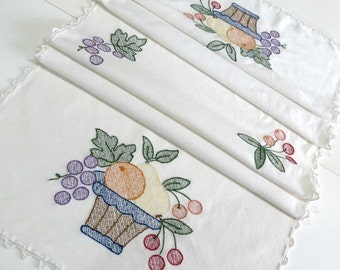 Embroidered Vintage Table Runner or Buffet Scarf with Fruit Basket Motif, Grapes Cherries Pears, Vintage Linens by TheSweetBasilShoppe