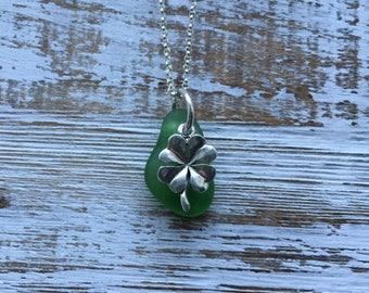 Luck of the Irish green sea glass clover necklace, four leaf clover sea glass necklace, green sea glass, talisman,  good luck charm