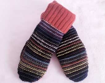 Sweater Mittens ~ Felted Wool Sweater Mittens ~ Recycled Sweater Mittens ~  Fleece Lined  Mittens ~ Women's  Mitten