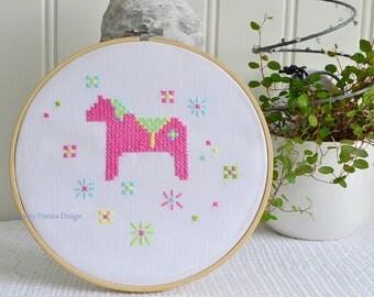 "Hoop art Dala horse embroidery, handmade Swedish cross stitch , pink and green, pastel colors , 8 "" needlepoint"