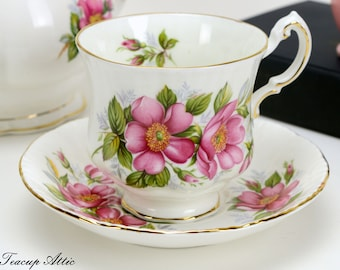 Paragon Prairie Rose Teacup And Saucer Set from the Provincial Flowers Series, English Bone China Tea Cup Set, ca. 1960