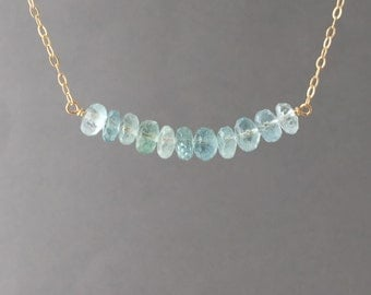 Large Blue Aquamarine Stone Beaded Necklace Gold, Rose Gold, or Silver