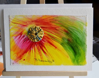 Yellow Pink Watercolor Swirl Stitched Postcard