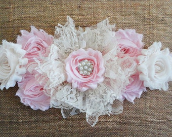 Maternity Sash, Cremey Ivory/Pink Lace Flower Sash, Ivory/Pink Maternity Sash, Girls Pink Belly Sash, Pregnancy Sash, Maternity Photo Prop