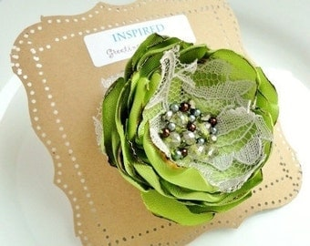 "Large Green Silk Fabric Flower Brooch 3"", Green Wedding Dress Flower Pin Summer Crystal Pearl, Grey Lace Silk Flower Clip, Broach, Beaded"