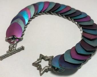 Suramar Inspired Titanium Scalemail Bracelet