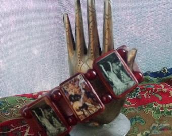 Queen Medb Maeve Maebh Wooden Devotional Bracelet. Pagan Celtic Devotional Jewelry.
