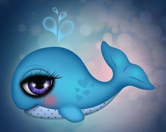 Giclee Fine Art Print of my Digital Illustration, Whale illustration, 8x8