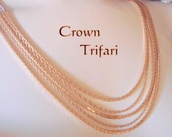 Vintage Crown Trifari Goldtone Multi Chain Statement Runway Necklace Designer Signed Jewelry Jewellery