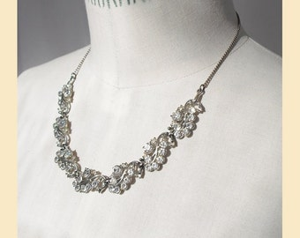 Vintage 1950s diamante necklace with clusters of clear crystal stones set in silver-tone metal, bridal necklace