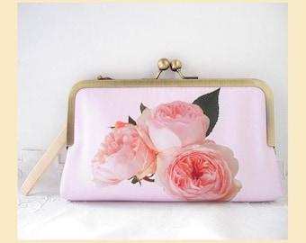 Clutch bag, handmade wristlet, pink purse, personalised clutch, floral print, bridal clutch, pink roses