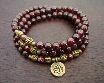 Women's Garnet Mala Necklace or Wrap Bracelet // Choose a Charm // Yoga, Buddhist, Meditation, Mala Beads, Yoga Jewelry