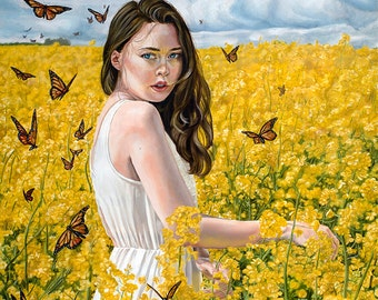 Original Oil Painting Girl in Yellow Flower Field by Plantiebee Christina Ridgeway