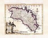Minorca 1756. Antique map of Minorca/Menorca, by Thomas Kitchin - MAP PRINT.