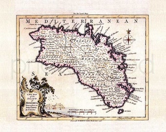 Minorca 1756. Antique map of Minorca/Menorca, by Thomas Kitchin - MAP PRINT.