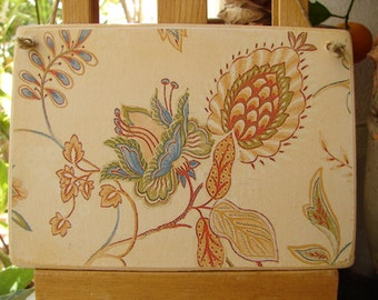 Victorian,Art Nouveau style, floral wallpaper image on wooden tag to hang on dresser or door knob