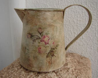 small,shabby chic tin jug,French painted,distressed with pink roses decoupage on two sides