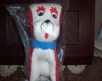 1960's Carnival Prize Stuffed Dog Still in Packaging...Retro Stuffed Carnival Dog...