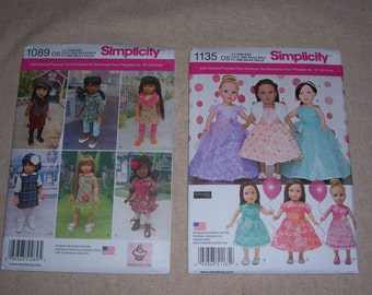 Simplicity 1135/673 or Simplicity 1089...American Girl Doll Pattern..18 Inch Doll Pattern..Fancy Party Dress Patterns..Cute New 2015 Pattern