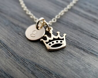 Princess Crown Necklace Gold necklace Initial Gold Crown Necklace Gold Initial Necklace Crown Charm Necklace Gold initial necklace charm