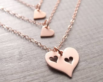 mother daughter necklace set mothers day gift for grandma gifts for mom mother of the bride gift Rose gold necklace gift for mom