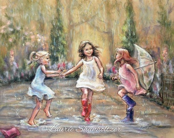 "Dancing illustration, rain, wall art, girls  daughters ""Come Dance With Me My Friends!"" Laurie Shanholtzer Canvas or  paper prints"