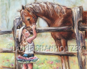 "girl and horse art,""Cowgirl Whispers"" Flat archival canvas print, child wall art, horse art, Laurie Shanholtzer"