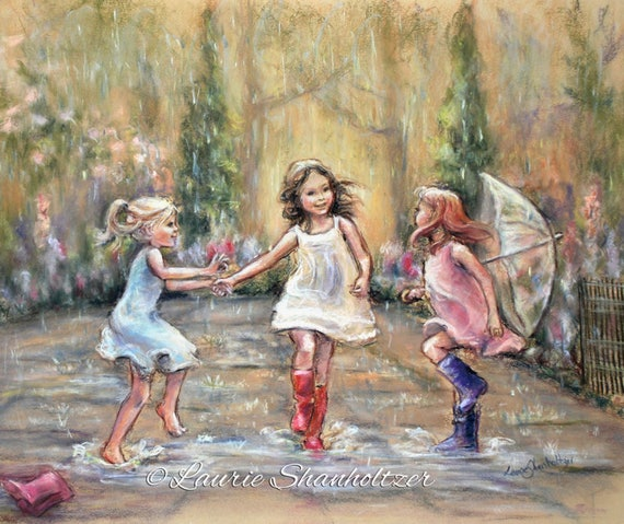 """Dancing illustration, rain, wall art, girls  daughters """"Come Dance With Me My Friends!"""" Laurie Shanholtzer Canvas or  paper prints"""