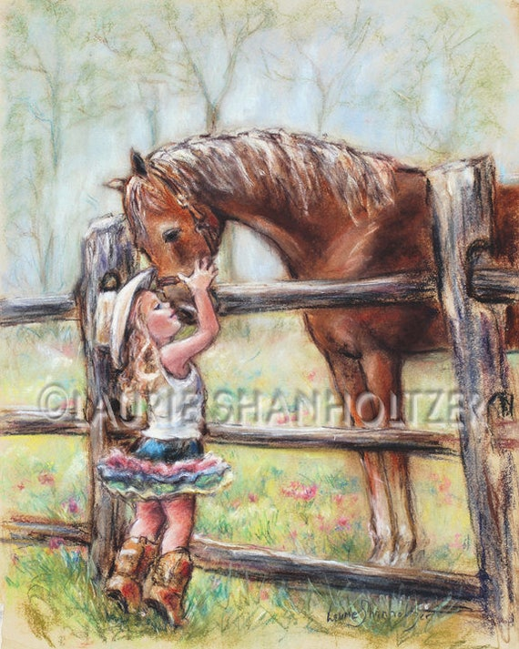 """girl and horse art,""""Cowgirl Whispers"""" Flat archival canvas print, child wall art, horse art, Laurie Shanholtzer"""
