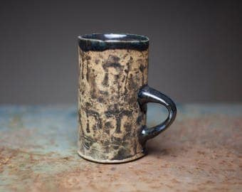 Tall cup, Hand build ceramic cup, stoneware tall mug ,wood fired pottery