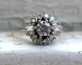 Retro Vintage 14K White Gold Diamond Halo Engagement Ring with Baguettes - 1.12ct.