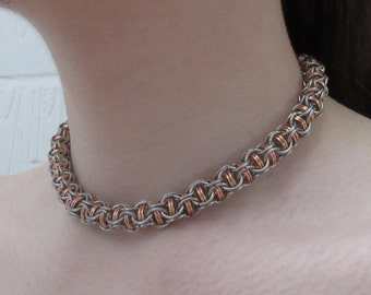 """Stainless steel and copper """"Captive Roundmaille"""" necklace"""