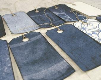 12 Halloween pre strung gift tags, dozen hang tags, labels, black edges