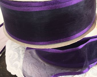 Craft 3 Spools Purple Sheer Ribbon. 5 Yard Spools for a Total of 15 Yards of Sheer Purple Ribbon. Undetermined Content.