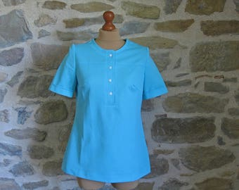 1970s  turquoise tunic top by Diolen Loft