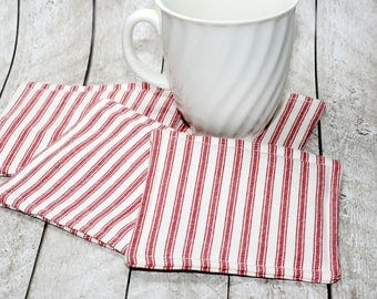 Red & White Ticking Coasters, Set of 4