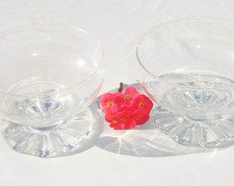 Two Vintage Clear Glass Desert Bowls - Serving Dish