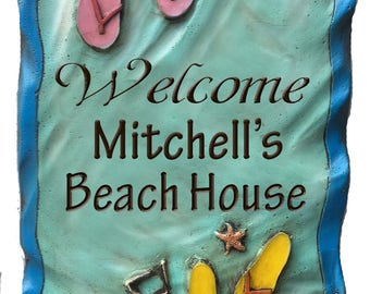 Beach House Personalized Welcome Sign