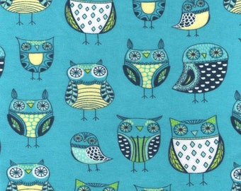 Snuggle Flannel Fabric - Nature Owl Green/Blue - 1 Yard